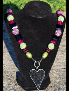 Sparkly Hot Pink, Lime Green and Black with a Black, Beaded Heart Pendant. $40
