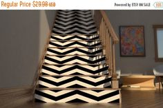 25 Brilliant Ways to Decorate Your Stairs via Brit + Co. Chevron Stairs: We've always gotta give a nod to chevron. This photo is actually from an Etsy listing of decals you can buy to chevron your stairs! (via Etsy) Floor Stickers, Vinyl Wall Stickers, Floor Decal, Wall Decals, Chevron, Stair Art, Painted Stairs, Painted Floorboards, Stair Risers