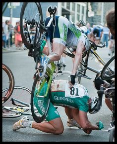 Portland Twilight Criterium 2010 by BikeRanger, via Flickr  -  Wow, Carl Hoefer from Sagebrush Cycles / Cyclesoles in mid-crash... awesome photo.