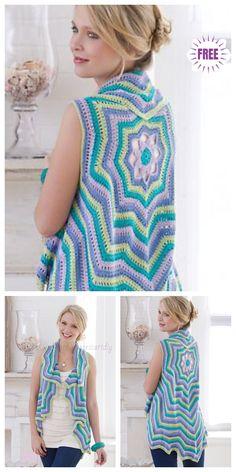 Fabulous Crochet a Little Black Crochet Dress Ideas. Georgeous Crochet a Little Black Crochet Dress Ideas. Crochet Circle Vest, Crochet Circles, Crochet Cardigan Pattern, Crochet Tunic, Crochet Jacket, Crochet Clothes, Crochet Vests, Crochet Bodycon Dresses, Black Crochet Dress
