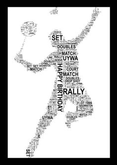 Badminton Player A4 Personalised Print