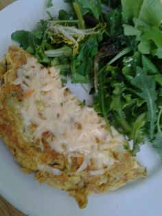 Curried omelette with arugula salad.