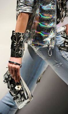 Women Hologram Fashion   #diva #rock #leather #trend #rainbow #2015 #milano #fashion #women