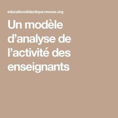 Un modèle d'analyse de l'activité des enseignants