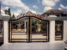 Large Victorian Style Black and Gold toned Cast Iron Entrance Estate Gate, 112 Tall, 144 wide. Victorian Cast iron gates, these are a special order. We can provide design build services for marble as well as cast iron products. House Main Gates Design, Front Gate Design, Door Gate Design, Small House Design, Iron Main Gate Design, Entrance Design, Front Gates, Entrance Gates, House Entrance