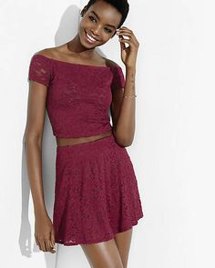 express one eleven campari red lace mini skirt