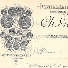 1901 French Antique Document Pretty Letterhead Graphics Engravings and Typography from Vintage Paper Attic. $12.99, via Etsy.