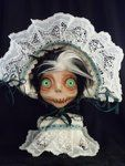 Jodie is made of airdry clay and got faux fur hair Creepy Dolls, Cool Artwork, Green Eyes, Beautiful Dolls, Amazing Art, Art Dolls, Scary, Nature Photography, Weird