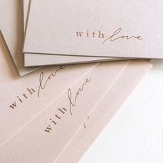 W I T H L O V E ― Rose gold on pale blush + nude