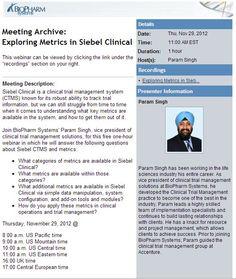 Exploring Metrics in Siebel Clinical