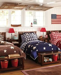 this would make a cute cabin bedroom