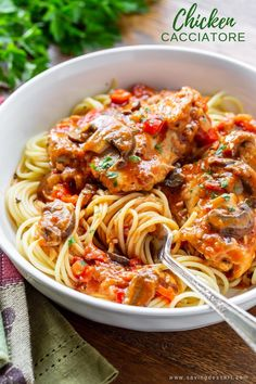 Really good Chicken Cacciatore is one of the most satisfying, delicious and comforting Italian dishes you can make at home. Great served with spaghetti or over polenta. #savingroomfordessert #chicken #chickenthighs #chickencacciatore #cacciatore #comfortfood #italiandish #italian Cooking Measurements, Cooking Beets, Spaghetti, Cooking Recipes, Ethnic Recipes, Food, Eten, Hoods, Food Recipes