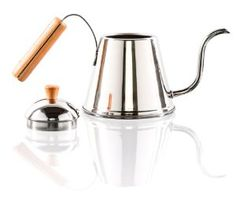 Yoshikawa stainless steel kettle with wooden handle. Nice gooseneck kettle ideal for pour-over coffee (V60, Kalita Wave)