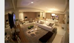 Living com Churrasqueira - Decorado 128m²