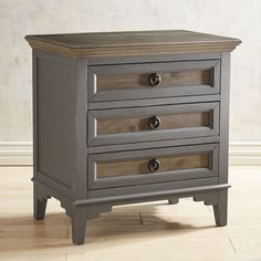 The perfect combination of mist gray and weathered wood, our Weston Collection features a two-tone finish, classic lines and modern styling. The bedside chest features three roomy drawers for storage. Refurbished Furniture, Unique Furniture, Repurposed Furniture, Shabby Chic Furniture, Cheap Furniture, Rustic Furniture, Furniture Stores, Furniture Dolly, Furniture Websites