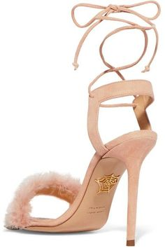 Heel measures approximately 110mm/ 4.5 inches  Blush suede and feathers Ties as ankle Ostrich: Holland Made in Italy