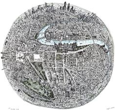 """Autistic artist Stephen Wiltshire detailed aerial drawings of London and New York from memory. For his pieces """"Globe of New York"""" and """"Globe of London"""", Stephen drew upon his memories of various helicopter trips over the cities. Detailed Drawings, Amazing Drawings, Amazing Art, Stephen Wiltshire, Autistic Artist, Pop Art, London Drawing, A Level Art, Illustrations"""