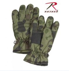 Extreme Cold Weather Mitten with leather palm and woodland camo back and cuff