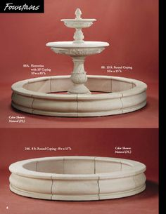Cast Wall Fountain Stone Tiered Fountains, Courttard Cast Fountains, Pedestaled Italian Fountain Cast Water Fountans Bird Baths Ststuary Fountains