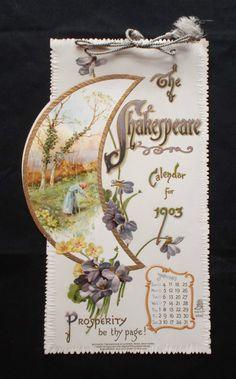 The Shakespeare Calendar for 1903 (Tuck DB Ephemera)