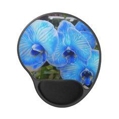 Blue Mystique Orchids Gel Mousepad  Pretty bright blue orchids on this gel mousepad