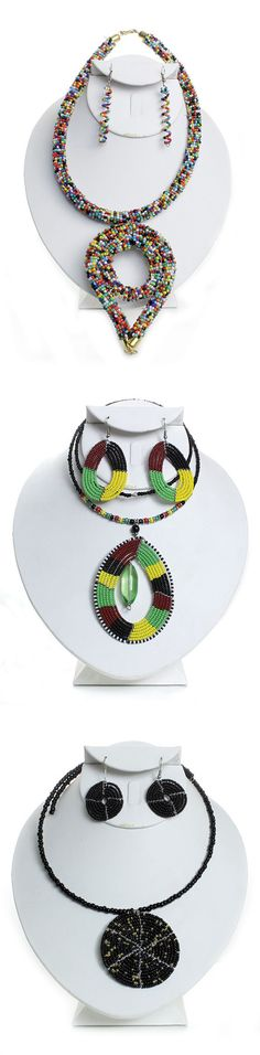 Handmade African Beaded Jewelry - Beautiful African jewelry in colorful African colors and patterns.  African jewelry contains bright colors, bold patterns and beautifully arranged beads.  Celebrate Black History Month with these beautiful beaded necklaces.  Get one for all of your friends for a Black History Month party or get them as gifts for a bridal shower.  #beaded #beads #necklaces #earrings #jewelry #decorate #fashion #style #africanfashion #africanstyle #fashionable