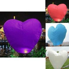 HDE HeartShaped Chinese Paper Wishing Lantern for Weddings Parties etc  Pack of 10 Purple -- For more information, visit image link.Note:It is affiliate link to Amazon. #WeddingAccessoriesIdeas