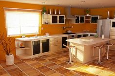 Kitchen in apricot color