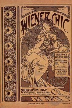 Alfons Mucha, Titelblatt für Wiener Chic (Ausgabe Januar 1905), 1905. Einfarbiger Druck, 44 x 33 cm. The Mucha Trust Collection