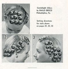 Vintage Hairstyles Curls Pin curl setting, this one is great for longer hair. If your hair is really thick or long just add an extra row of curls in the back, behind ears. Vintage Haircuts, 1940s Hairstyles, Hairstyles Haircuts, Sleep Hairstyles, Wedding Hairstyles, Historical Hairstyles, Looks Vintage, Vintage Pins, Metro Retro