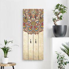 Wand Garderobe Holz mit Motiv Stein Optik Stein Wand Flur Möbel Garderobenhaken
