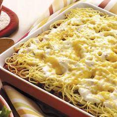 Spaghetti Casserole (Taste of Home) Make one/Freeze one  -- spaghetti, ground beef, spaghetti sauce, tomato sauce, cream of mushroom soup, sour cream, colby-jack cheese