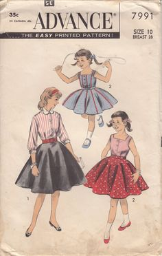 Vintage 50s Girl's BLOUSE And CIRCLE SKIRT Sewing Pattern by HoneymoonBus, $11.99