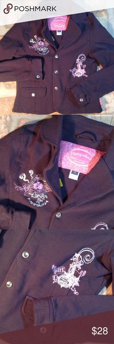 Pampolina Brown Cotton Long Sleeve Luck Print Jkt NWOT Nice cotton jacket. Rhinestone snap closure buttons. Pink and silver screen print graphics. Pampolina Jackets & Coats