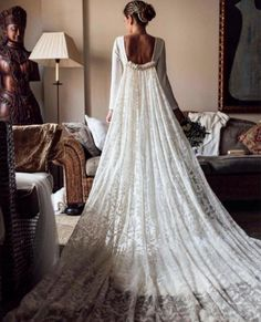 Floored ✨ This look offers all the drama. This is such a genius combo of a train/cape, captured here by ✨ Tag someone you know who would love this! More dresses on our site, link in bio. Beautiful Wedding Gowns, Wedding Dress Styles, Beautiful Dresses, Lace Weddings, Kate Middleton, Bridal Gowns, Designer Dresses, One Shoulder Wedding Dress, Marie
