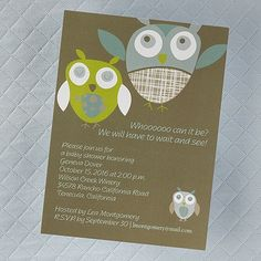 These owls are the perfect messengers on this baby shower invitation!