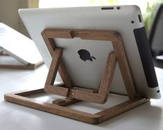 This iPad stand by Ooms is an adjustable wooden stand which you can use at your desk, in the kitchen, on the couch, etc.