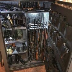 Survival camping tips Hidden Gun Storage, Weapon Storage, Weapons Guns, Guns And Ammo, Gun Safe Room, Hidden Gun Cabinets, Tactical Wall, Gun Vault, Armas Ninja