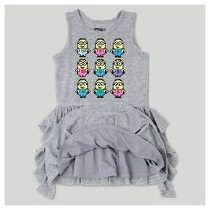 A Line Dresses Heather Gray NBCUniversal Minions 4T, Toddler Girl's