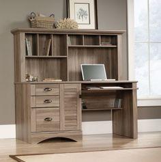 Harbor View Computer Desk With Hutch Sauder Salt Oak