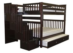Bedz King Stairway Bunk Beds Full over Full with 4 Drawers in the Steps and 2 Under Bed Drawers, Cappuccino Under Bed Drawers, Bunk Beds With Drawers, Bunk Beds With Storage, Bunk Bed With Trundle, Full Bunk Beds, Bunk Beds With Stairs, Kids Bunk Beds, Loft Beds, Bed Storage