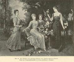 "Wilhelm von Kaulbach "" The daughters of Duke Alfred of Saxe-Coburg-Gotha"" l to r: Princesses Beatrice, Marie, Alexandra, and Victoria Melita"
