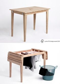 table transforms into drying rack Laundry Table // Living in a Shoebox. OMG this would be huge or apartment living!Laundry Table // Living in a Shoebox. OMG this would be huge or apartment living! Smart Furniture, Furniture For Small Spaces, Home Furniture, Furniture Design, Balcony Furniture, Furniture Ideas, Multifunctional Furniture Small Spaces, Bedroom Furniture, Compact Furniture