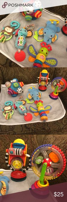 Toy bundle This is a bundle of very gently used toys  Two attach to tray top Other