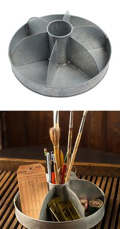 Take your desktop storage for a spin. This round organizer features seven storage compartments in a convenient carousel design. Its galvanized metal finish adds a vintage-inspired touch.  Find the Carousel Caddy, as seen in the The Industrial Refinery Collection at http://dotandbo.com/collections/the-industrial-refinery?utm_source=pinterest&utm_medium=organic&db_sku=120956