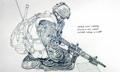 Photos by National Post graphics editor Richard Johnson of Canadian Forces in and around the Horn of Panjwaii Military Art, Military Uniforms, Military Drawings, Drawing Sketches, Drawing Ideas, Modern Warfare, Special Forces, Afghanistan, Line Art