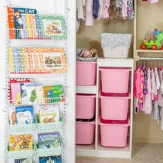 Unique storage solutions transformed a BIG MESS into to a pretty and practical closet that will work for years to come.
