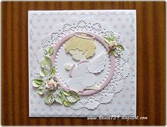 hania739: Aniołek dla aniołka First Holy Communion, Baby Scrapbook, Paper Cards, Handmade Baby, Baby Cards, Christening, Cardmaking, Greeting Cards, Angels