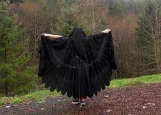 Rabe Krähe Blackbird Owl Wings benutzerdefinierte Vogel Umhang OOAK gemalt