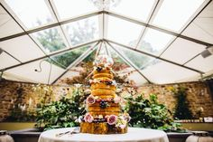Naked cake decorated with flowers. Inspiration & Ideas - Ever After A Dartmoor Wedding. GRW photography
